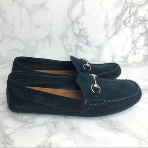 eac77722173 Gucci Shoes - gucci    blue suede horsebit road loafers mocs NEW
